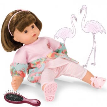 GÖTZ puhatestű Maxi Muffin baba, flamingós ruhában